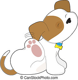 A cute brown and white puppy is scratching its ear.