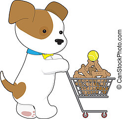 A cute puppy shopping for dog b iscuits