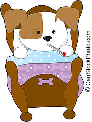 A cute puppy is sick in bed. It has a thermometer in it's mouth