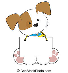 A sweet little puppy sitting with a blank sign around its neck. There is room to add your own text.