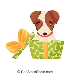 Cute puppy sitting in a green box. Vector illustration on white background.