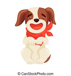 Cute puppy sitting on his hind legs. Vector illustration on white background.