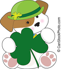 Cute Puppy St Pats - A cute puppy is wearing a green Irish...
