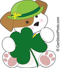 Cute Puppy St Pats - A cute puppy is wearing a green Irish...
