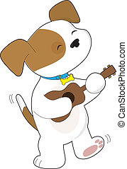Cute Puppy Ukulele - A cute puppy with tail wagging, is...