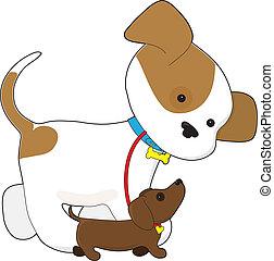 Cute Puppy Walking a Pup - A cute puppy is taking a little...