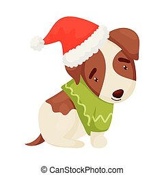 Cute puppy with a green sweater. Vector illustration on white background.