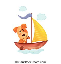Cute puppy with a paddle swims in a boat. Vector illustration on white background.
