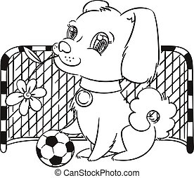 Cute puppy with a soccer ball, card or print concept.