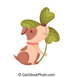 Cute puppy with a trefoil. Vector illustration on white background.