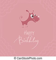 Cute puppy with big eyes, congratulations happy birthday