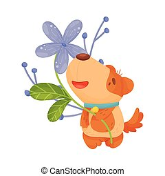 Cute puppy with flowers. Vector illustration on white background.