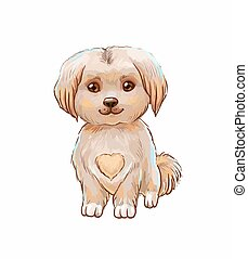 Cute puppy with heart on belly. Vector illustration isolated