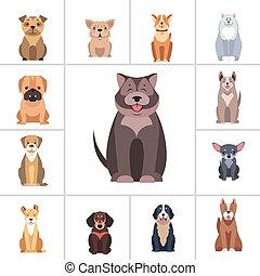 Cute Purebred Dogs Cartoon Flat Vectors Icons Set - Cute...