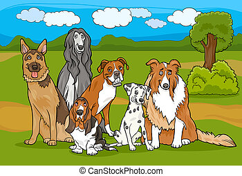 Cartoon Illustration of Cute Purebred Dogs or Puppies Group against Rural Landscape or Park Scene