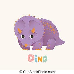 Cute Purple Cartoon Baby Dino. Bright Colorful dinosaur....