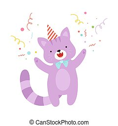 Cute purple cat. Vector illustration on a white background.
