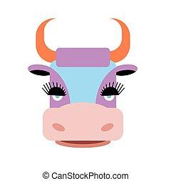 Cute purple cow with big eyelashes. Farm animal with orange...