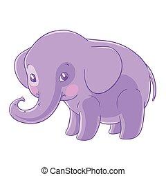 Cute purple elephant in a cartoon style.