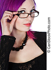 Attractive Purple Haired Girl in Glasses