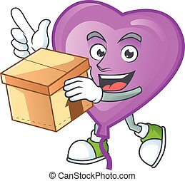Cute purple love balloon cartoon character style holding a box. Vector illustration
