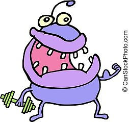 Cute purple monster keeps a dumbbell