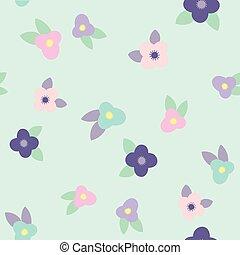 Cute purple, pink, blue flowers background.
