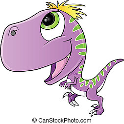 Raptor Dinosaur Vector - Cute Purple Raptor Dinosaur Vector...