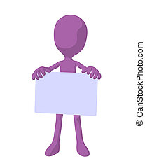 Cute Purple Silhouette Guy Holding a Blank Business Card -...