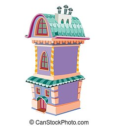 cute purple two-story house with three chimneys, cartoon illustration, isolated object on white background, vector,