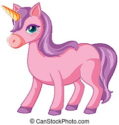 Cute purple unicorn in standing position on white background illustration