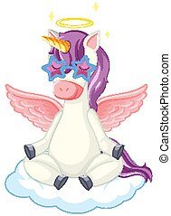 Cute purple unicorn wearing star glasses in sitting on cloud position on white background