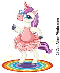 Cute purple unicorn wearing star glasses in standing on rianbow position on white background illustration