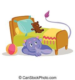 cute, purpur, monstrum, hos, hale, skjule, under, den, seng