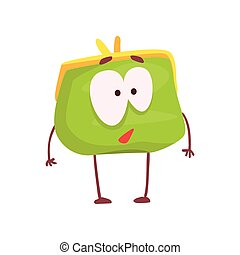 Cute purse character, funny green humanized pouch cartoon vector illustration