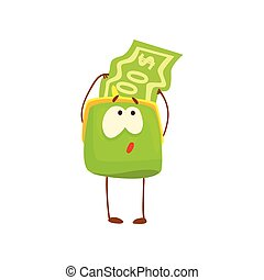 Cute purse character with, funny green humanized pouch cartoon vector illustration