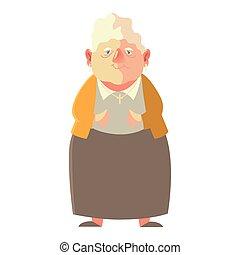 cute qelderly woman, grandmother female senior cartoon