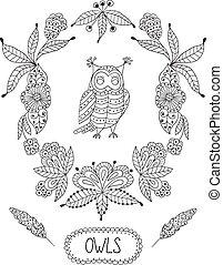 cute, quadro, caricatura, corujas, vetorial, flores, folhas