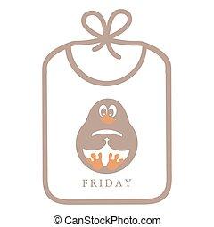 cute, quadro, engraçado, babador, ícone, caricatura, pingüim