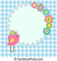cute, quadro, flores, pássaro, redondo
