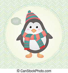 cute, quadro, ilustração, desenho, textured, pingüim