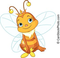 Cute Queen Bee - Illustration of a cute queen bee