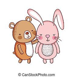 cute rabbit and bear animal cartoon isolated icon design