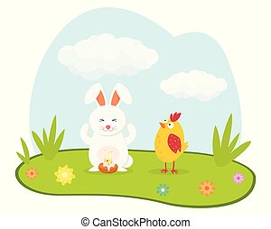 Cute rabbit and chicken. Happy Easter design. Good for holiday card. Flat icon. Vector.