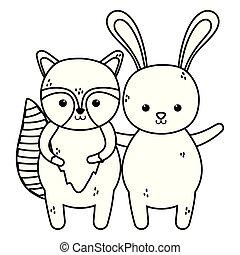 cute rabbit and raccoon waving hand thick line