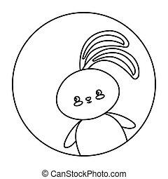 cute rabbit animal in frame circular