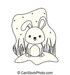 cute rabbit animal isolated icon