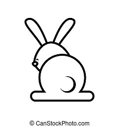 cute rabbit back line style icon