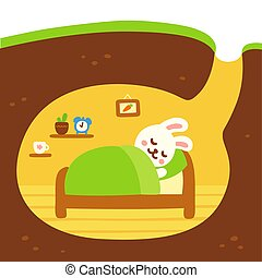 Cute rabbit burrow - Cute cartoon rabbit burrow drawing....