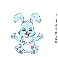 Cute Rabbit Cartoon Boy, Happy Bunny Isolated on White Background